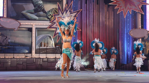 Carnival time! Happy people dance with costumes al Footage