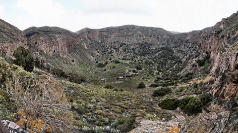 La Caldera de Bandama in volcanic island Gran Cana Footage