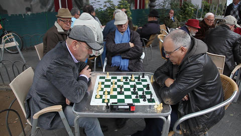 Retired persons senior citizens play Chess time la Footage