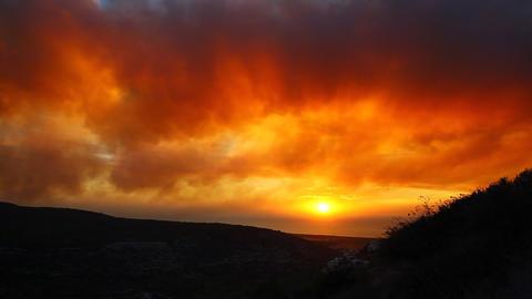 Red orange apocalyptic sunset / sunrise Footage