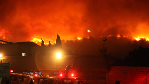 Firefighters and tankers against ferocious fire Footage