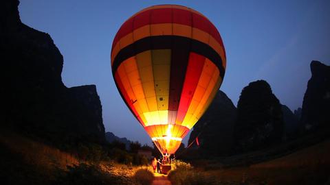 Hot air ballooning - Moon Mountain, China Footage