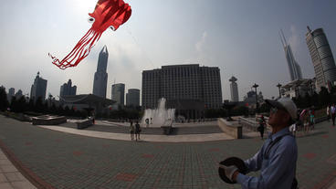 Kite In Shanghai stock footage