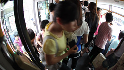 Riding The Bus In Beijing stock footage