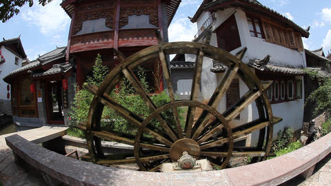 Water turbine in old town Lijiang in Yunnan provin Footage