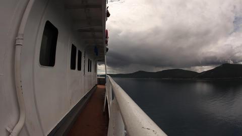Boat On Lake Khᅢᄊvsgᅢᄊl, Mongolia, Fisheye stock footage