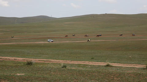 Final horse racing at the 2009 Naadam Festival, Mo Footage