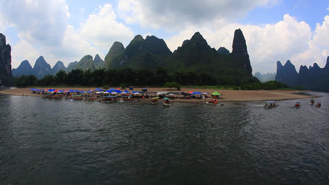 Sailing the Li river from Guilin to Yangshuo Footage