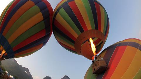 Hot Air Ballooning - Yangshuo, China stock footage
