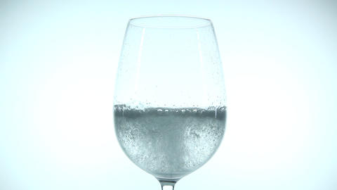 Sparkling water in a glass of wine Footage