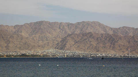 Skyline Of Aqaba, Jordan: Coastline, Beach, Mounta stock footage