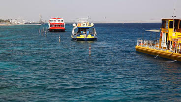 Glass Boats In Eilat, For Observing Of Fish, Dolph stock footage