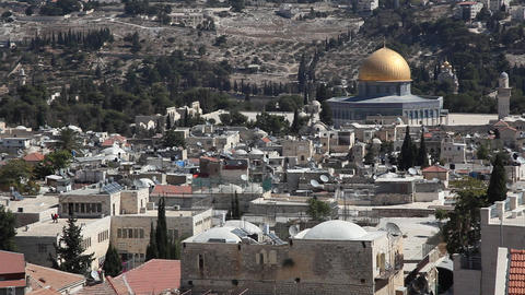 Skyline of old Jerusalem: Dome of the rock Footage