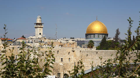 View of Dome of the Rock and the Western Wall Footage