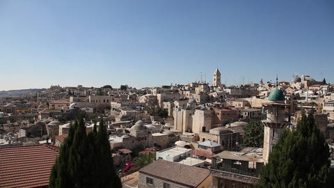 Skyline of old Jerusalem pan Footage