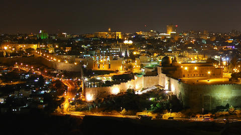 Skyline of Jerusalem, the Jewish Quarter at night  Footage
