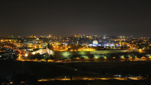 4K UHD Skyline of Jerusalem at night time lapse Footage