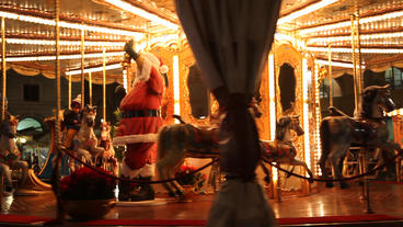 Santa On Carousel stock footage