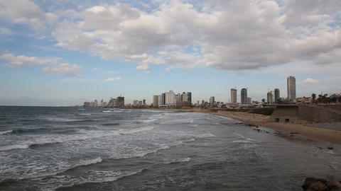 Tel Aviv skyline: view from Jaffa, Israel Footage