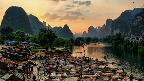 Hot air ballooning and rafting - Yangshuo, time la Footage