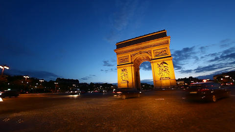 Arch Of Triumph At Dusk, Paris, France, HD stock footage