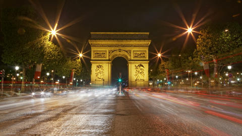 4K UHD Arch of Triumph at night, Paris, France Tra Footage