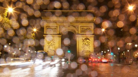4K UHD Arch of Triumph rain at night, Paris, Franc Footage