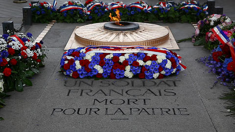 The flame of the unknown soldier under the Arc de  Footage