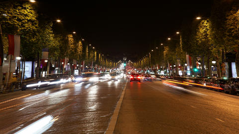 4K UHD Avenue Champs Elysees, one of the most famo Footage