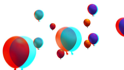 Anaglyph 3d stereo Balloons Flying Up the screen Animation