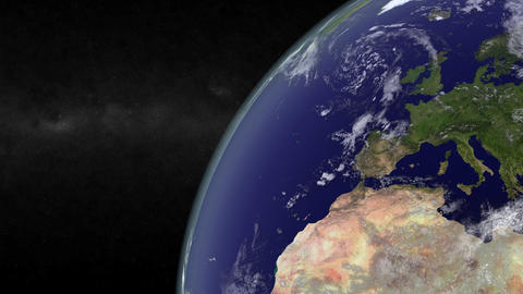 Closeup on earth showing Europe Animation
