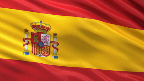 Flag of Spain seamless loop Animation
