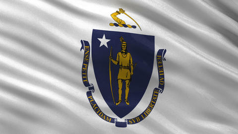 US state flag of Massachusetts seamless loop Animation