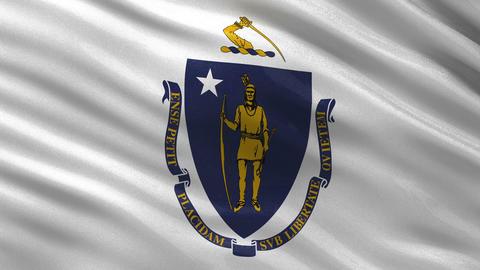 US state flag of Massachusetts seamless loop Animation