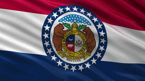 US state flag of Missouri seamless loop Animation