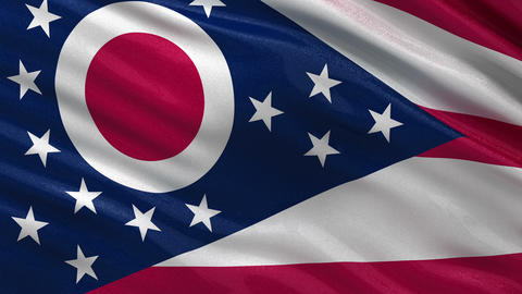 US state flag of Ohio seamless loop Animation