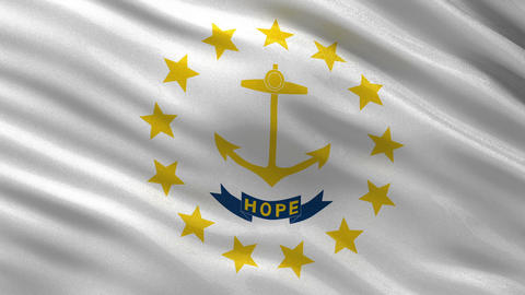 US state flag of Rhode Island seamless loop Animation