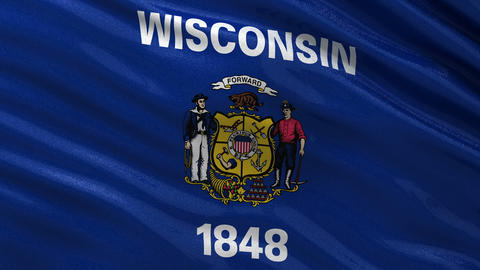US state flag of Wisconsin seamless loop Animation