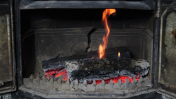 Wood burning in old fireplace Footage