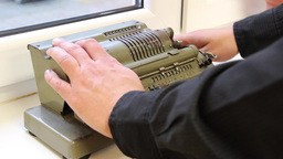 Retro, vintage, mechanical calculator Footage