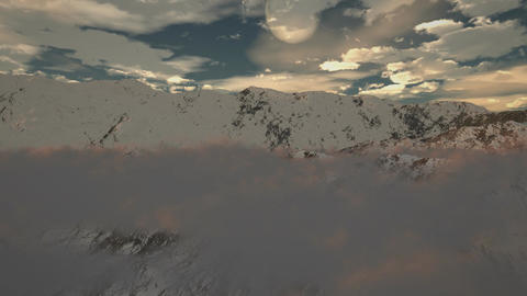 (1190) Snow Mountain Winter Wilderness Clouds Moon... Stock Video Footage