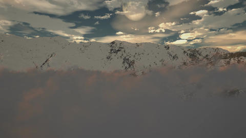 (1190) Snow Mountain Winter Wilderness Clouds Moon Leadership Alpine Challenge Animation