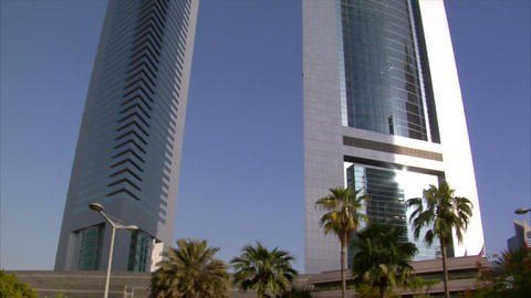 Emirate Towers slow tilt Stock Video Footage