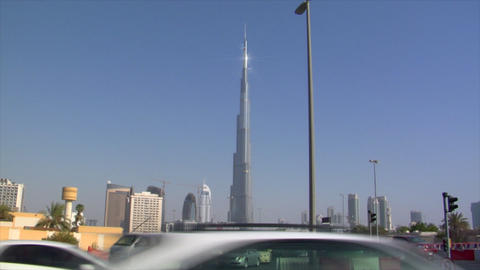 traffic at burj khalifa Dubai Stock Video Footage