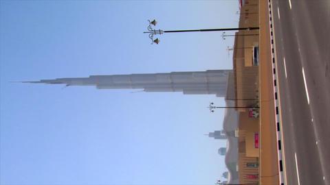 VERTICAL burj Dubai traffic Stock Video Footage