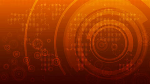 Global technology abstract background on orange Animation