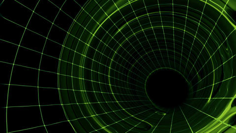 Green Grid Tunnel HD Loop Animation