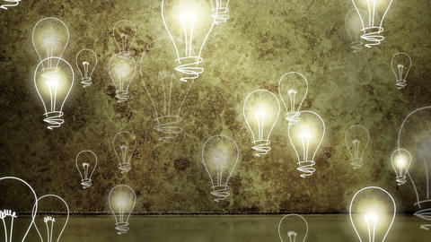 Light bulbs rising on grungy background Stock Video Footage