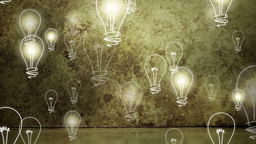 Light bulbs rising on grungy background Animation