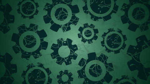 Rotating graphic cogs on green Animation